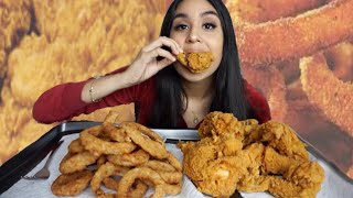 CRUNCHY ONION RINGS & CHICKEN WINGS MUKBANG / EATING SHOW / WATCH ME EAT
