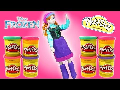 Disney Princess Frozen Anna Play Doh Doll Dress Playdough Toy video