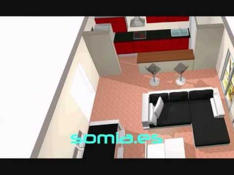 Dise o 3d salon cocina integrada youtube for Cocina y salon unidos