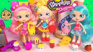 3 Shopkins Shoppies Dolls Poppette Jessicake Bubbleisha Doll Toy Unboxing + Exclusives Video