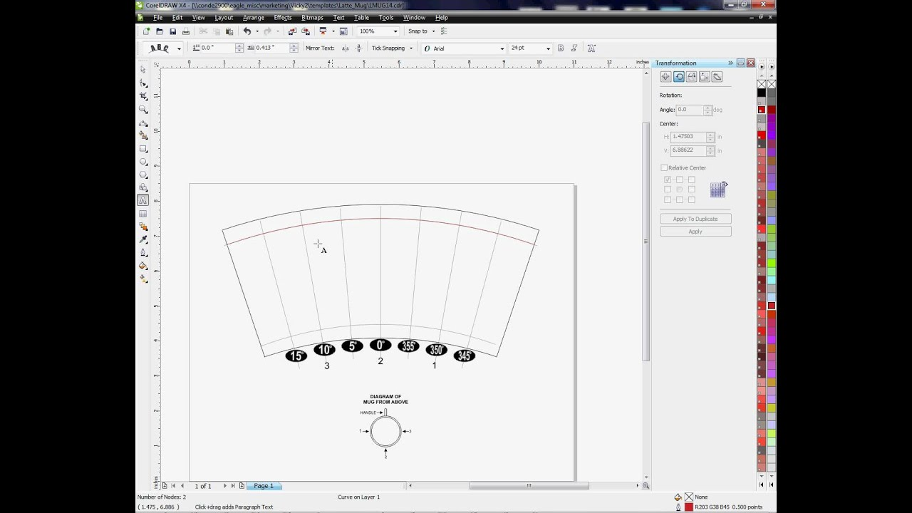 Using The Arch Tool In Corel Draw For Curved Templates