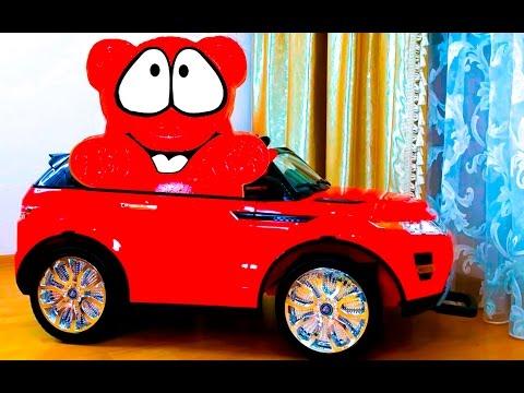 ЖЕЛЕЙНЫЙ МЕДВЕДЬ Обзор на Детский электромобиль Настюшик и Желейный Медведь сделали ТЕСТ ДРАЙВ
