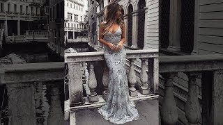 Sexy Sheath V-neck Gray Long Prom Dresses For Teenagers - Millybridal.org