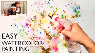 [LVL1] Easy Watercolor Technique for Beginners | Basic Spray Painting Art