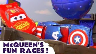 Hot Wheels races with Cars Lightning McQueen Marvel Avengers and the funny Funlings TT4U