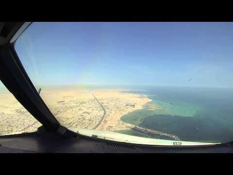 A320 Landing at Doha Int'l Airport, Qatar. Cockpit View.