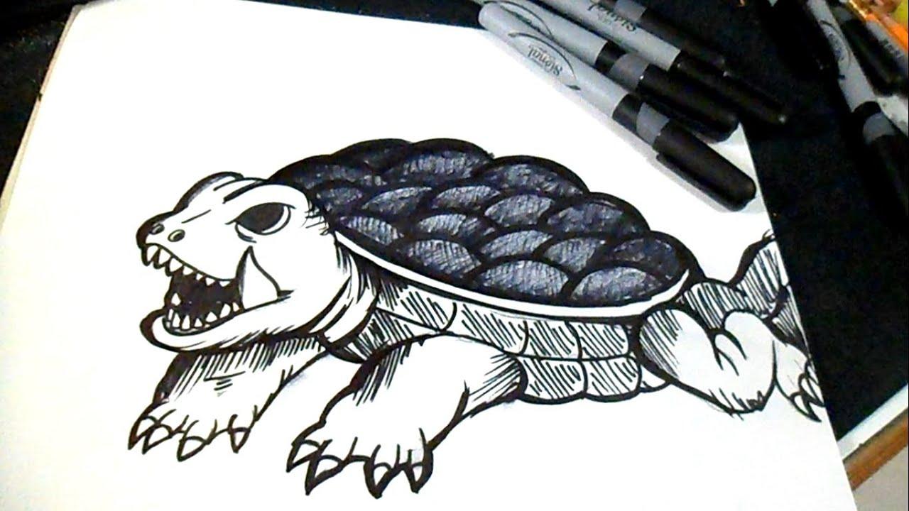 Dessiner une tortue graffiti youtube - Comment dessiner une tortue ...