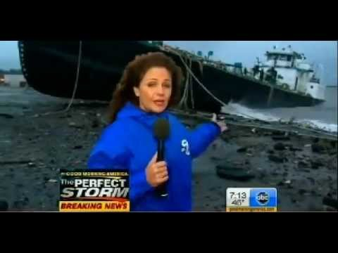 700 Ton Tanker John B. Caddell runs aground in Staten Island by Hurricane Sandy