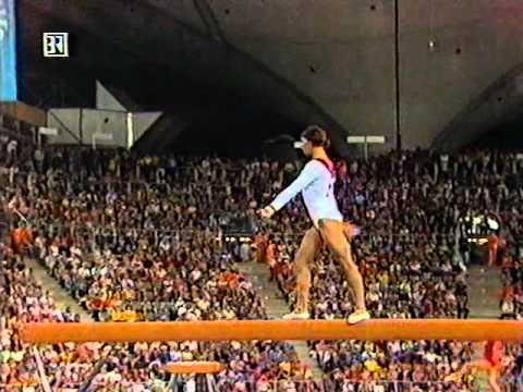 Ludmilla Tourischeva performs her optional balance beam routine in the team competition of the 1972 Olympic Games. She ties her teammates Olga Korbut and Tamara Lazakovich for the highest ...