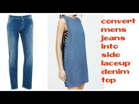 DIY : Convert jeans into side lace denim  top/Dress