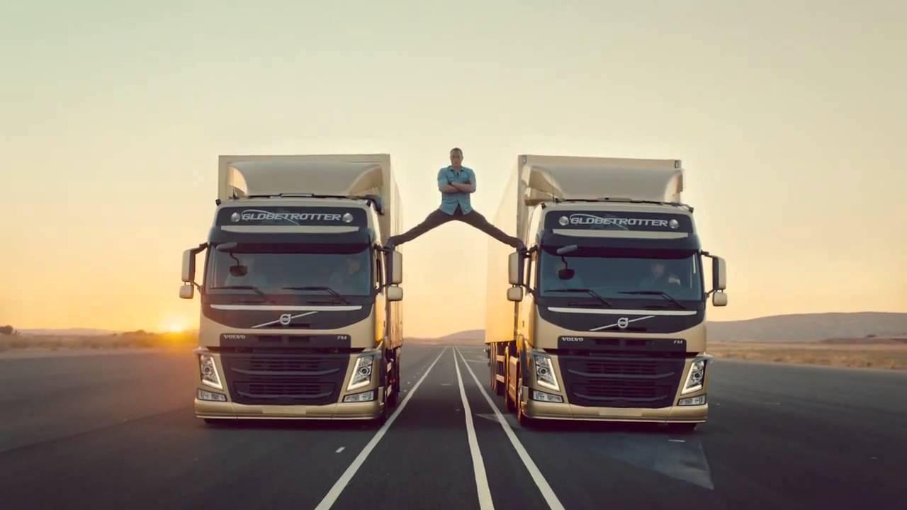 Jean Claude Van Damme does a split between 2 Volvo Trucks - YouTube