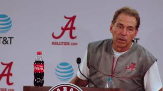 Nick Saban gets animated after practice - FULL PRESS CONFERENCE