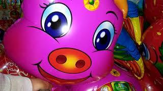 Đồ chơi trẻ em,bơm bong bóng bay con heo đất,cu lỳ bin bin