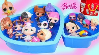 LOL Surprise Doll Play Video with Pool Party Dollhouse Slime !