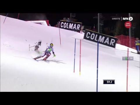 A drone crashes and almost kills Marcel Hirscher