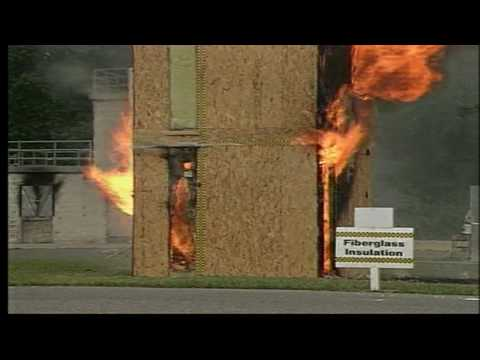 The big burn the truth about cellulose insulation youtube for Fiberglass insulation fire rating