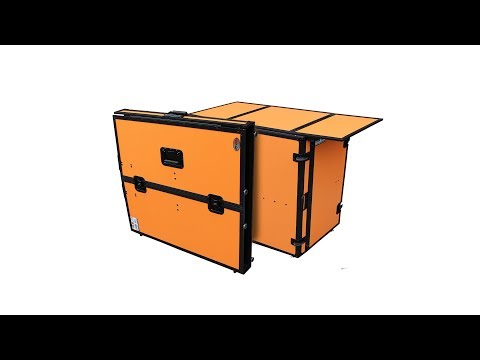 ProX cases XS-DJSTNOL Performer Portable DJ desk Table Facade Orange on Black W/ Wheels