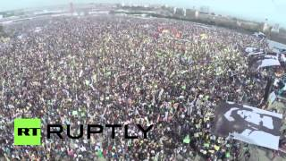 (Turkey) Aerial drone view of massive Kurdish beach rally in Istanbul  3/23/14