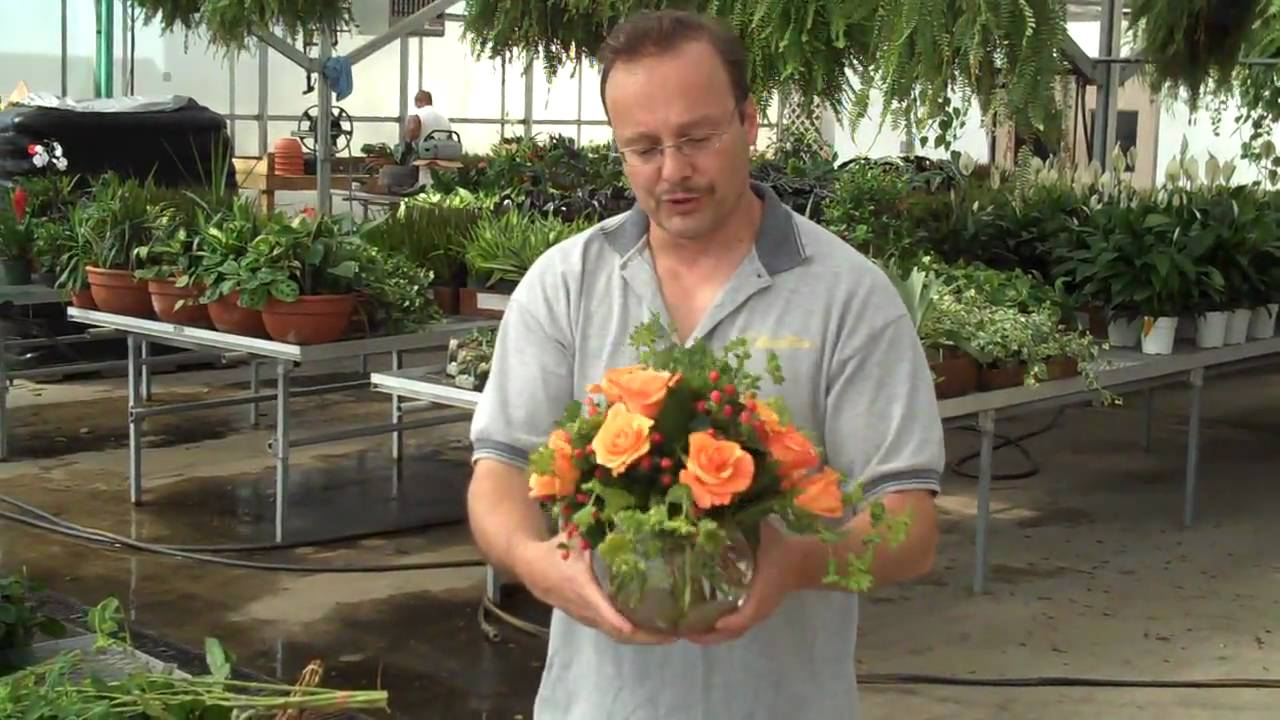 How to Arrange a Dozen Roses in a Bubble Bowl - YouTube