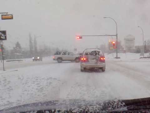 driving in winter  in edmonton . by sandy