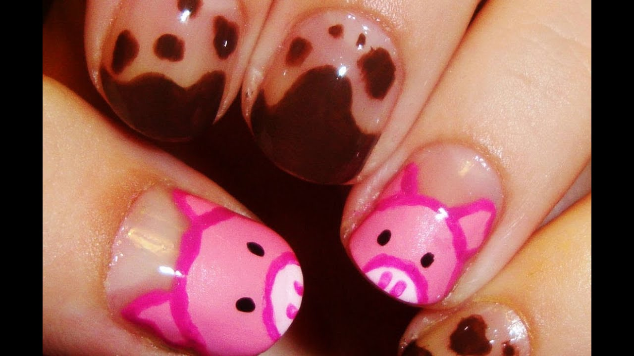 Cute Pig Nail Art Designs : Cute piggy nail art youtube
