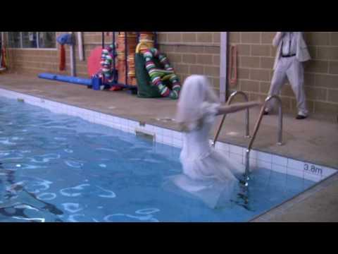 Bride in the pool wetlook fun