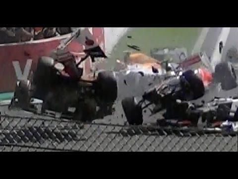HUGE CRASH Formula 1 - Spa Francorchamps Belgium 2-9-2012 (Grandstand Gold 8)