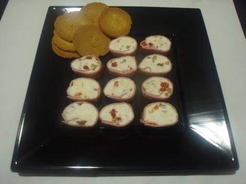 Canapes de Jamon York y Queso Gorgonzola - TuCocinaEnCasa Recetas de cocina