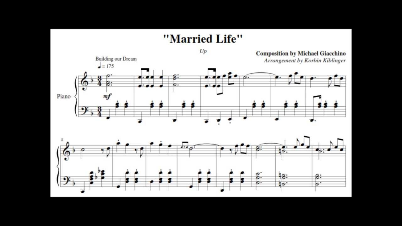 """Disney's Up: """"Married Life"""" - (Solo Piano Sheet Music) - YouTube"""