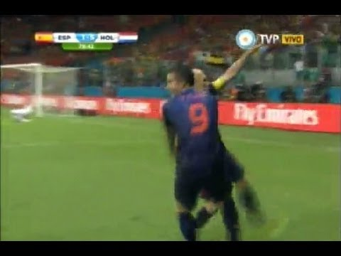 España 1 Holanda 5 - World Cup 2014 -All Goals And Highlights- Relatos Sebastian Vignolo -TV Publica