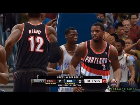 NBA Live 14 PS4 - Portland Trail Blazers vs Oklahoma City Thunder - 2nd Qrt - HD