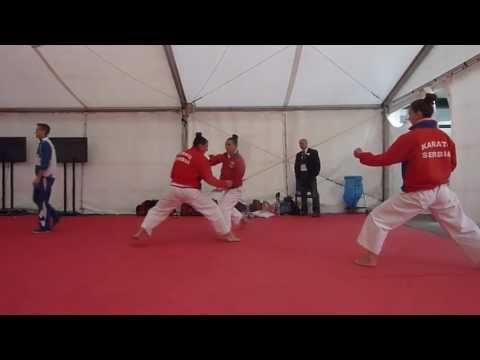Serbia Team Female Kata warming up. 48th European Karate Championships