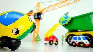 Видео для детей с машинками. Грини и Жёлтый шалят на стройке. Смотреть машинки онлайн