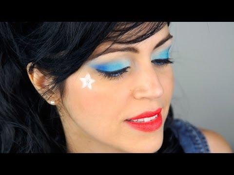 Maquillaje PinUp Ahumado de Ojos Azul con Labios Rojos