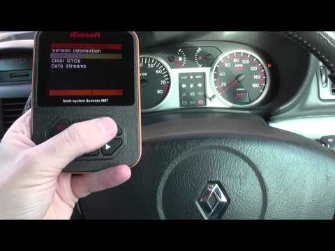 Renault Clio Air Bag Warning Diagnose iCarsoft i907 DF060 DF065 DF183