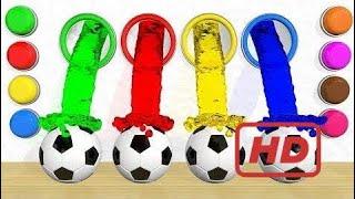 Learn Colors 3D Slime Magic Liquid for Children - Learn Colors with Soccer Balls Slime Magic Liquid