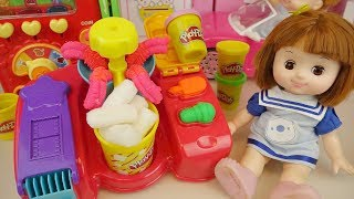 Baby doll and Play Doh donut cooking popcorn maker toys play