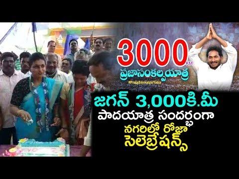 MLA Roja Celebrates Jagan's Padayatra Success | YS Jagan Completes 3000 KMS Padayatra | Indiontvnews