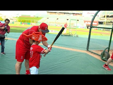 Mike Trout spends time with one of his biggest fans