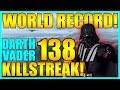 (World Record) 138 Darth Vader Gameplay/Killstreak - Star Wars Battlefront 2