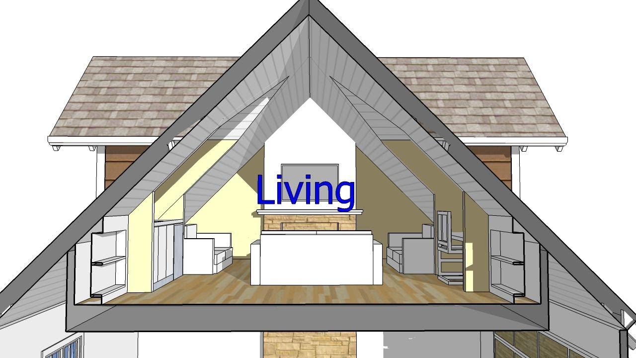 Design an attic roof home with dormers using sketchup for Room roof design images
