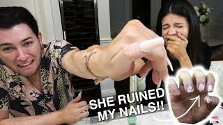 I Tried Wearing Acrylic Nails for 24 Hours ft. Laura Lee... IT WAS BAD