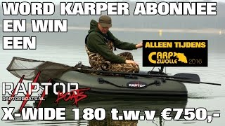 Win een Raptor 180 X-Wide rubberboot met 55lb. elektromotor en bank bag t.w.v. €750,00!