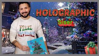 Holographic en tarjeta de navidad