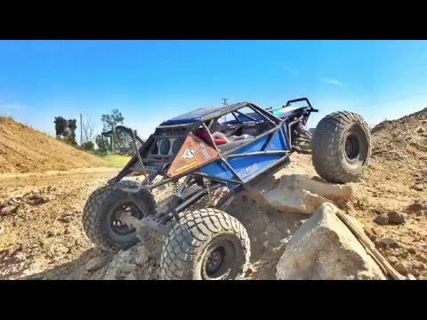 Axial Yeti 2.2 Rock bouncer RC after many changes and custom upgrades hits the Rocks and sand.