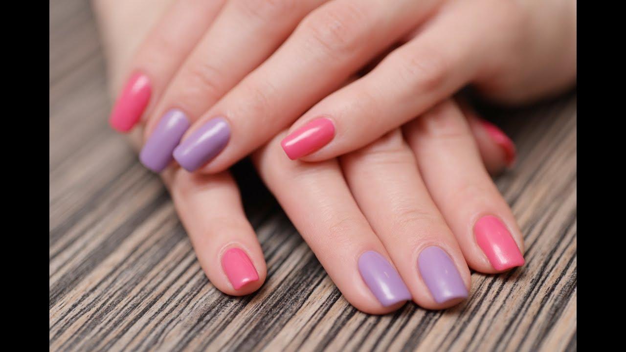 Маникюр с разными цветами на одном ногте