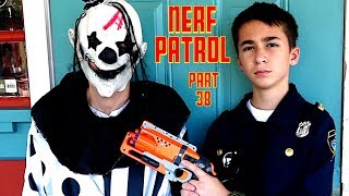 Nerf Patrol has a Nerf War at the Coffee Shop with the Killer Clown - Part 38