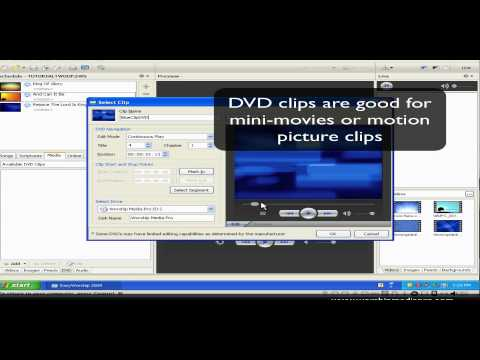 EasyWorship 2009 Training Lesson 6 - DVD Clip In Schedule