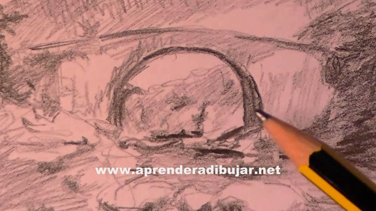 dessin de paysage avec crayon comment dessiner youtube. Black Bedroom Furniture Sets. Home Design Ideas