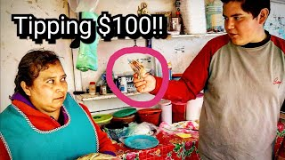 TOP Mexican Street Food Experience - Tipping $100 Dollars In MEXICO - Money Sent From SUBSCRIBERS!!